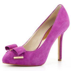 Michael Kors Delphine Suede Bow Pumps In Purple